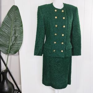 Vintage 80's Emerald Teddy Power Suit Skirt Set
